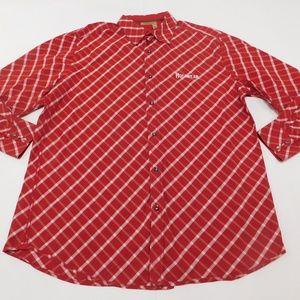 Rocaqwear 2XL Red Button Down Shirt  Cotton